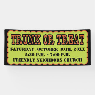 Black, Orange and Green Trunk Or Treat Banner
