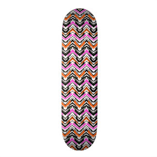 Black, Orange, And Pink Hand Drawn Chevron Pattern Skate Boards