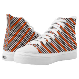 Black Orange and White Stripes Pattern Printed Shoes