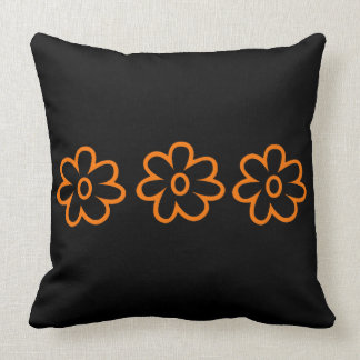 Black Orange Floral Throw Pillow