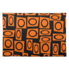 Black Orange Fun Circle Square Pattern Gifts Placemat