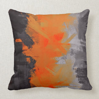 Black Orange Gray Abstract Painting Cushion