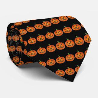Black Orange Halloween Jack o Lantern Pumpkin Tie