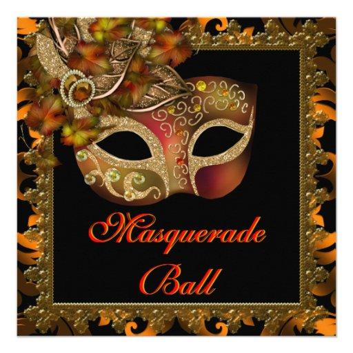 Black Orange Halloween Masquerade Party Announcements