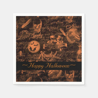 Black & Orange Haunted Halloween Napkins Paper Napkins