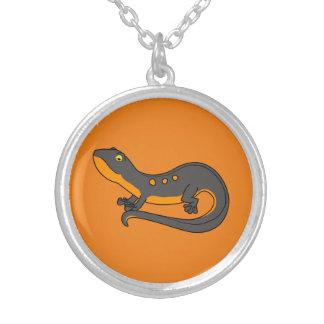 Black & Orange Newt with Spots Round Pendant Necklace