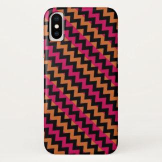 Black Orange Pink Chevron Pattern iPhone X Case