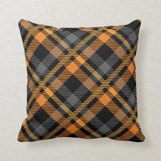 Black & Orange Plaid Throw Pillow
