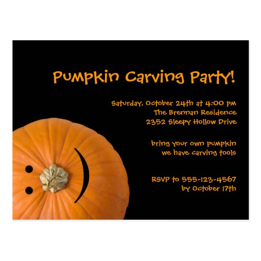 Black orange pumpkin Halloween party invitation Postcard