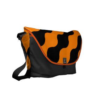 Black, Orange Retro Circles Art Pattern Messenger Bag