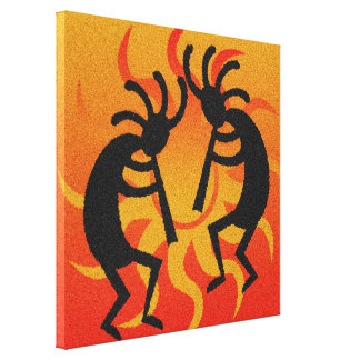 Black Orange Southwestern  Kokopelli Wall Art