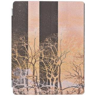 Black orange stripe trees branches digital art iPad cover
