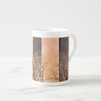 Black orange stripe trees branches digital art tea cup