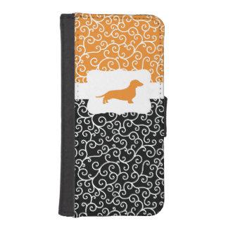 Black & Orange Swirls w/Dachshund iPhone SE/5/5s Wallet Case