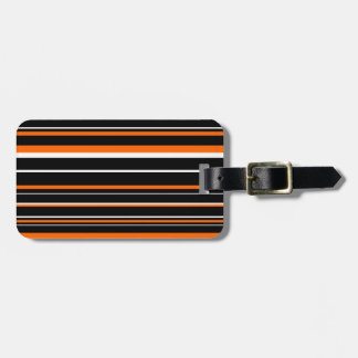 Black, Orange, White Barcode Stripe Travel Bag Tags