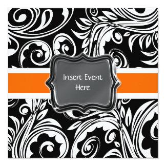 Black orange white engagement wedding 13 cm x 13 cm square invitation card