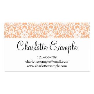 Black Orange White Floral Damask Classic Pack Of Standard Business Cards