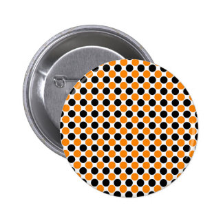 Black Orange White Polka Dots Pinback Button