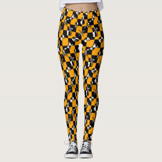 Black Orange & White Vintage Halloween Disco Check Leggings
