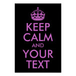 Black Orchid Keep Calm and Your Text Print