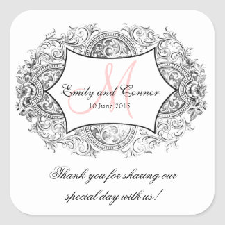 Black Ornate Frame Pink Monogram Wedding Thank You Square Sticker