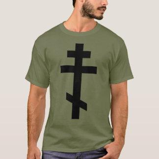 Black Orthodox Cross. Olive Drab T-Shirt