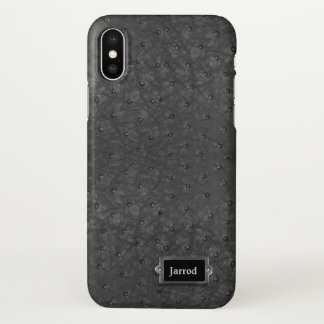 Black Ostrich Leather Look iPhone X Case