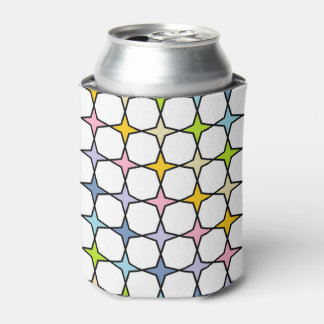 Black Outlined Pastel Rainbow 4 Point Stars Can Cooler