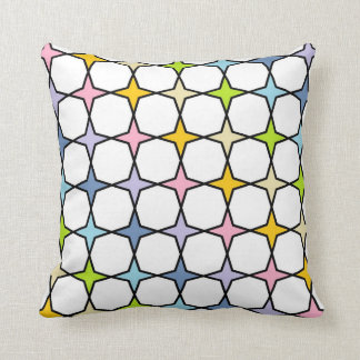 Black Outlined Pastel Rainbow 4 Point Stars Cushion