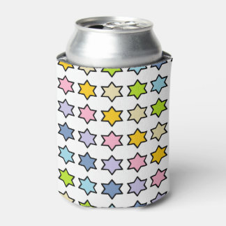 Black Outlined Pastel Rainbow 6 Point Stars Can Cooler