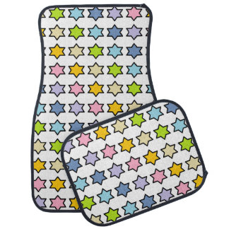 Black Outlined Pastel Rainbow 6 Point Stars Car Mat