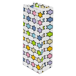 Black Outlined Pastel Rainbow 6 Point Stars Wine Gift Bag
