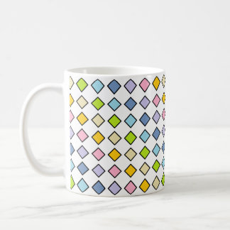 Black Outlined Pastel Rainbow Diamonds Coffee Mug