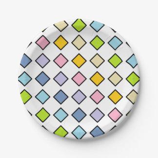 Black Outlined Pastel Rainbow Diamonds Paper Plate