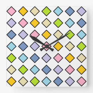 Black Outlined Pastel Rainbow Diamonds Square Wall Clock
