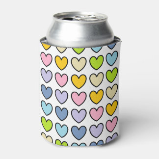 Black Outlined Pastel Rainbow Hearts Can Cooler