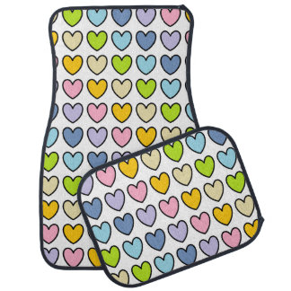 Black Outlined Pastel Rainbow Hearts Car Mat