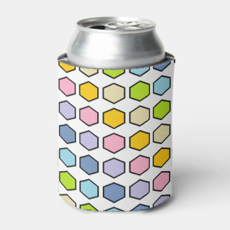 Black Outlined Pastel Rainbow Hexagons Can Cooler