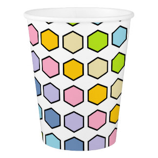 Black Outlined Pastel Rainbow Hexagons Paper Cup