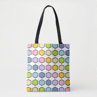 Black Outlined Pastel Rainbow Hexagons Tote Bag
