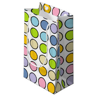 Black Outlined Pastel Rainbow Polka Dots Small Gift Bag