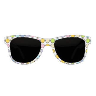 Black Outlined Pastel Rainbow Polka Dots Sunglasses