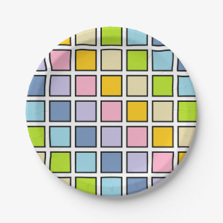 Black Outlined Pastel Rainbow Squares Paper Plate