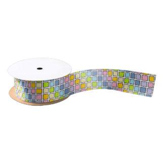 Black Outlined Pastel Rainbow Squares Satin Ribbon