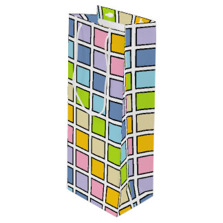 Black Outlined Pastel Rainbow Squares Wine Gift Bag
