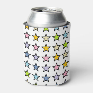 Black Outlined Pastel Rainbow Stars Can Cooler