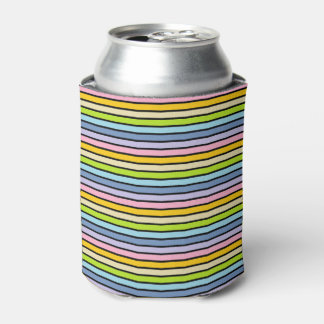 Black Outlined Pastel Rainbow Stripes Can Cooler