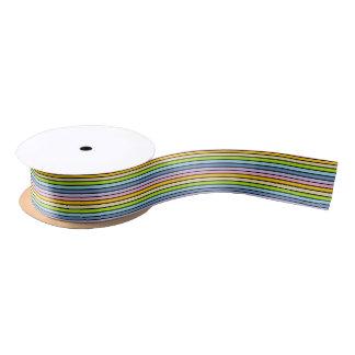 Black Outlined Pastel Rainbow Stripes Satin Ribbon