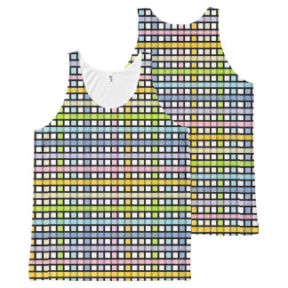 Black Outlined Pastel Rainbow Weave All-Over Print Singlet