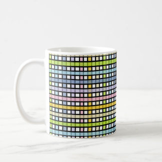Black Outlined Pastel Rainbow Weave Coffee Mug